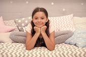 Cute Gymnast Stretching On Bed. Girl Child Sit Bed In Her Bedroom. Kid Prepare To Go To Bed. Time Fo poster