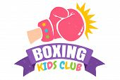 Vector Vintage Logo For A Boxing With Pink Glove. Retro Emblem For Boxing Kids Club. Poster Of A Box poster