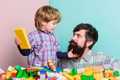 Playing With Daddy. Building Home With Constructor. Child Development. Happy Family Leisure. Father  poster