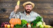 Become Organic Farmer. Farmer With Organic Homegrown Vegetables. Grow Organic Crops. Community Garde poster