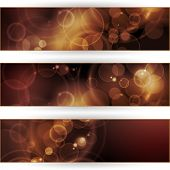 Header, banner set. Overlying semitransparent circular shapes forming a bokeh background with space