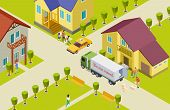 Moving Isometric Vector Illustration. Neighborhood In A Small Town, Home, Park, People, Delivery Tra poster