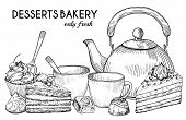 Desserts Bakery Shop Vector Banner Template. Hand Drawn Pot, Tea Cups, Cakes And Candies Isolated On poster