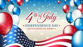 Banner 4th Of July Usa Independence Day, Vector Template With American Flag And Colored Balloons On  poster