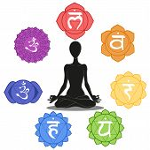 pic of tantra  - Man silhouette in yoga position with the symbols of seven chakras - JPG