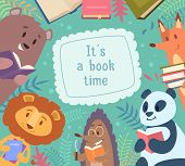 Animals Reading Books. Back To School Background Frame With Funny Animals Around Vector Cartoon Kids poster