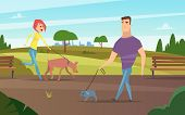 Pets Walking. Animals Happy Owners Outdoor In Park Running Or Cycling With Dogs Activity Vector Back poster