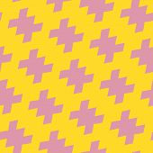 Vector Geometric Bright Colorful Seamless Pattern In Traditional Style. Yellow And Pink Color. Abstr poster