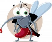 Vampire Mosquito Vector Cartoon Illustration Character Design poster