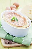 delicious cheese souffle with cheese and eggs - food and drink