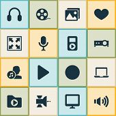 Multimedia Icons Set With Artists, Headphone, Display And Other Heart Elements. Isolated Vector Illu poster
