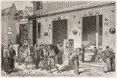 Library in Yedo (Tokyo) old illustration. Created by Crepon after antique engraving of unknown Japan