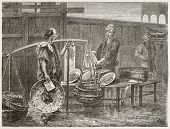 Japanese fried fish merchant selling shellfish. Created by Neuvilleafter Japanese sketch by unknown author, published on Le Tour Du Monde, Ed. Hachette, Paris, 1867