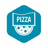 Pizza Badge Or Signboard Icon. Simple Illustration Of Pizza Badge Or Signboard Vector Icon For Web poster