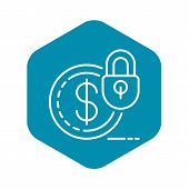 Secured Money Icon. Outline Secured Money Vector Icon For Web Design Isolated On White Background poster