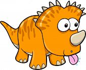 Silly Orange Dinosaur Animal Vector Illustration Art