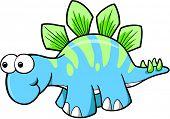 Silly Stegosaurus Dinosaur Vector Illustration
