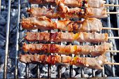 cocked pork kabobs grilled on skewers on a barbecue