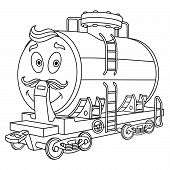 Coloring Page. Colouring Picture. Cute Cartoon Fuel Tank. Rail Wagon For Chemical Industry Delivery. poster