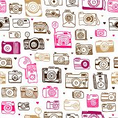 Seamless photo camera background pattern in vector
