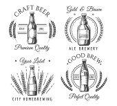 Artisanal Craft Beer Labels. Crafted Handmade Beverage Icons, Vector Ale Beer Bottle Logo Set, Origi poster