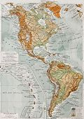 America physical map with Lesser Antilles insert map. By Paul Vidal de Lablache, Atlas Classique, Li