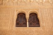 Windows With Fine Moorish Details In The Alhambra Palace