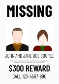 Missing Poster Template. Male And Female Flat Avatar. poster