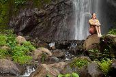 Woman At Waterfall
