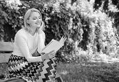 Girl Keen On Book Keep Reading. Reading Literature As Hobby. Woman Blonde Take Break Relaxing In Par poster