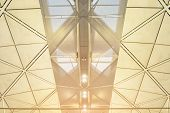Interior Of The Modern Mall Of Hongkong Airport Subway Station, Ceiling Of Modern Building poster