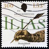 stamp printed in Germany shows Hand writing with feather Johann Heinrich Voss