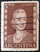 A stamp printed in Argentina shows image of a political lider Eva Peron