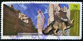 A stamp shows Talampaya National Park and small gray fox Dusicyon griseus