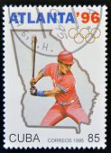 A stamp printed in Cuba dedicated to Olympic Games in Atlanta 1996 shows baseball