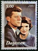 A stamp printed in Republic of Dagestan shows John F Kennedy with wife Jacqueline