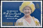 Ilhas PITCAIRN - CIRCA1980: Um selo imprimido em ilhas Pitcairn mostra um retrato da rainha traça