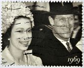 UNITED KINGDOM- CIRCA 2007: A stamp printed in Great Britain shows Queen Elizabeth II and Duke of Ed