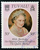 TUVALU - CIRCA 1980: A stamp printed in Tuvalu shows a portrait of the Queen Mother circa 1980
