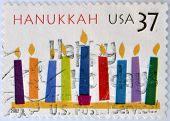 UNITED STATES OF AMERICA - CIRCA 2002: A stamp printed in USA shows candles Hanukkah circa 2002