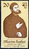GERMANY - CIRCA 1982: A stamp printed in Germany shows Martin Luther circa 1982
