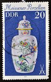 GERMANY - CIRCA 1979: A stamp printed in the Germany shows a China vase Meissner circa 1979