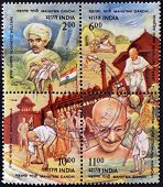 INDIA - CIRCA 1998: Four stamps dedicated to Mahatma Gandhi circa 1998