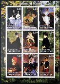 TADJIKISTAN - CIRCA 2001: stamps printed in Tadjikistan shows set of stamps showing nine paintings b