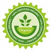 100% Certified organic food label.
