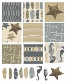 Beach style vector seamless patterns and icons.  Use as fills for digital paper, fabric or craft pro