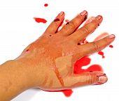 Bloedige Hand geïsoleerd op wit