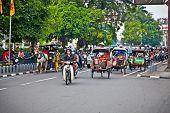 YOGYAKARTA, INDONESIA - JANUARY 3: View of Yogyakarta with its typical hundreds of motorbikes on Jan