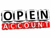 3D Open Account Button Click Here Block Text