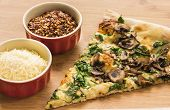Spinach, Mushroom And Garlic Pizza